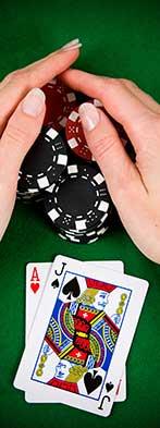 blackjack woman hands on chips